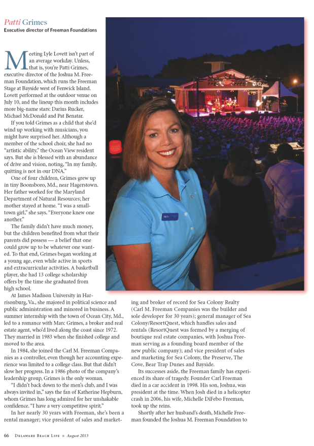 patti grimes in Delaware beach life magazine