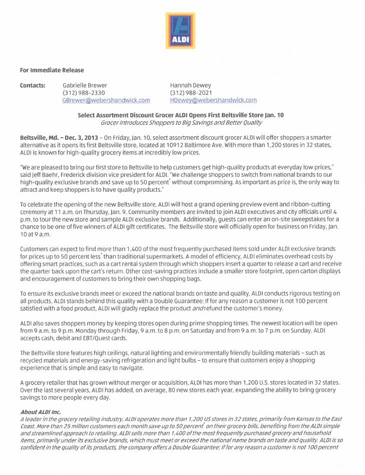 ALDI press release