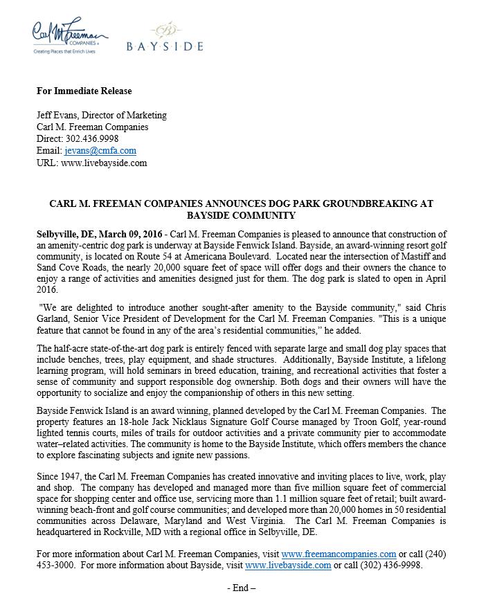 press release- dog park